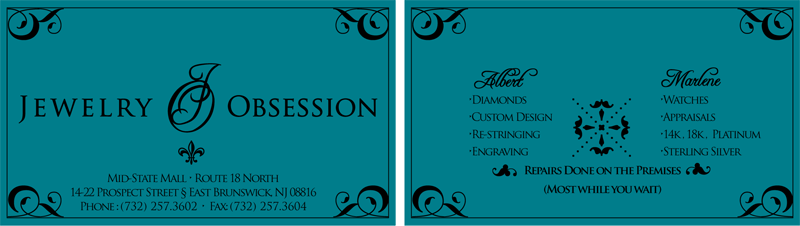 Jewelry Obsession Business Cards Craig Marlowe Designs